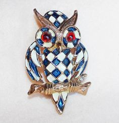 Awesome Owl Enamel Checkerboard Vintage Brooch.