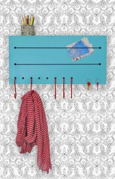 DIY wall organizer with shelf, hooks, and magnetized area for keys - crvene kukice