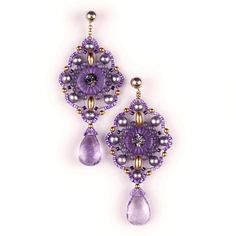 Designer Miguel Ases Amethyst, Labradorite and Pearl Dangle Earrings