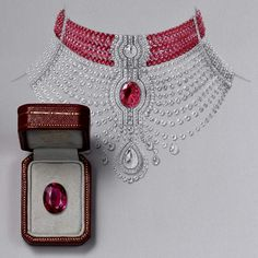 The Cartier Reine Makéda ruby necklace, displayed at the 2014 Biennale de Paris, can also be worn as two separate pieces of jewellery: a ruby choker and a diamond necklace. Ruby Jewelry, High Jewelry, Jewelry Art, Women Jewelry, Ruby Necklace, Pendant Necklace, Jewelry Design Drawing, Jewellery Sketches, Jewelry Sketch