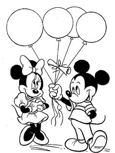 mickey mouse clubhouse pop star minnie mouse coloring pages mickey mouse and minnie given balloons - Mickey Mouse Clubhouse Coloring Pages