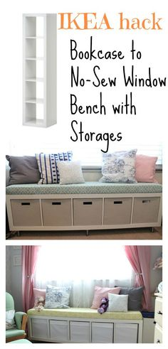 DIY Ikea: No-Sew Window Bench The bench looks Superb! This Ikea one is entirely safe, cheap and easy to make. Get the tutorial HERE DIY Ikea:… Bookcase Bench, Ikea Bookshelf Hack, Ikea Hack Storage, Kitchen Storage Bench, Window Seat Storage, Bench With Shoe Storage, Diy Storage, Ikea Hacks, Office Storage