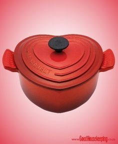 A cherry heart-shaped casserole from Le Creuset in celebration of Heart Awareness Month. Le Creuset, Heart Awareness Month, San Valentin Ideas, Good Housekeeping, Dutch Oven, Cooking Tools, Beautiful Kitchens, Casserole Dishes, Kitchen Gadgets