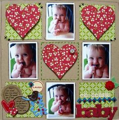 heart scrapbook layout using 4 photos - CTMH wings paper