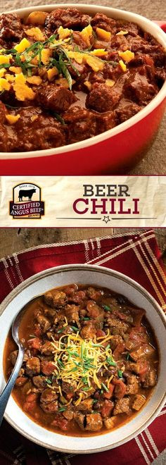 Certified Angus Beef®️️️️️️️ brand Beer Chili is made with the BEST sirloin tip roast, peppers, black beans, and dark BEER for the ULTIMATE flavor profile. This EASY recipe serves a crowd deliciously. Perfect for a game day party! #bestangusbeef #certifiedangusbeef #beefrecipe #easyrecipes #gamedayrecipes
