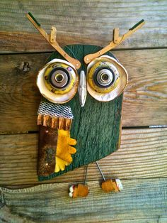 studio cb | mixed media owl with reclaimed timber, leather, piano hammers, etc.