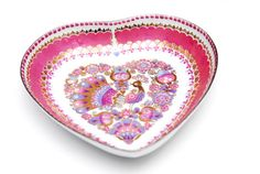 Valentines vintage austrian tiny hand painted enamel heart bowl by Studio Steinböck with a peacock, floral pattern and 24 karat gold accents