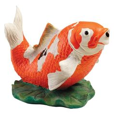 Welcome the serenely bubbling bliss of tranquil water music to your garden, fountain or koi fish pond! The Asian symbol of grace, beauty and abundance, this Koi fish Spitter Statue will prove a Zen garden decision when prettily positioned in your natural landscape. The brightly hand-painted Kohaku Koi statue is cast in quality designer resin copper pipe inserts. Though this naturalistic water feature is sure to be the focal point in your peaceful, meditative outdoor decor, the Design Toscano Garden Fountains, Garden Statues, Outdoor Statues, Fisher, Grace Symbol, Water Sculpture, Garden Sculpture, Kohaku, Antique Art