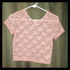Pale Pink Lace Crop Top Condition: Excellent/Like New  Size: S-M (tag says M but fits like a s) Brand: Forever 21 Material:  Details: Forever 21 Tops Crop Tops