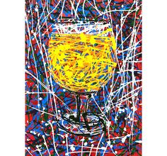 Jackson Pollock Splatter Painting of Belgian Beer Glass, Drip Painting, Abstract Impressionism, Beer Drinker Birthday Gift, Man Cave Bar Art Drip Painting, Painting Abstract, Craft Beer Gifts, Beer Art, Belgian Beer, Jackson Pollock, Paint Splatter, Famous Artists, Artist Art