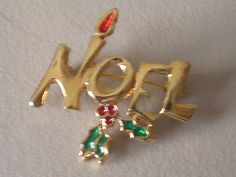 Vintage Brooch Pin  NOEL by VintageJewelryEtc on Etsy, $6.00