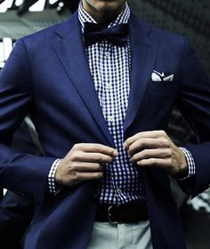 gingham, blue suit, bow tie... great recipe