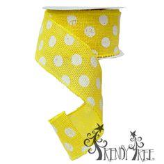 Daffodil Burlap White Polka Dot Ribbon #trendytree #burlap #polkadots