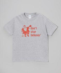 Heather Gray 'Don't Stop Believin' Santa Tee - Boys & Men