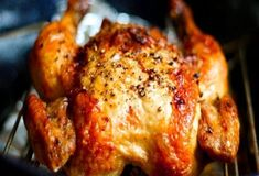 I love Crispy chicken. And whole chickens are actually a lot cheaper than buying chicken a different way. chicken recipes for dinner Crispy Roasted Chicken, Roasted Garlic, Whole Roasted Chicken, Roasted Whole Chickens, Turkey Recipes, Dinner Recipes, Dog Recipes, Oven Recipes, Recipies