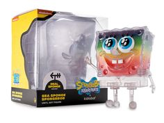 Limited Edition SpongeBob SquarePants Sea Sponge Art Figure by Kidrobot – Rainbow Glitter Edition Bright Blue Eyes, Sea Sponge, Toy Packaging, Spongebob Squarepants, 20th Anniversary, Vinyl Art, Rainbow Colors, Glitter, Party