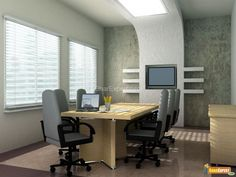 Amusing Contemporary Home Office Design in Trendiest Ways: Amusing Contemporary Office Space Design With Modern Meeting Room Space Concepts Stylish Interior Collections Completed With Flat Screen Tv Unit And Blinds Windows Also Gray Painted Walls ~ wiligear.com Home Office Design Inspiration