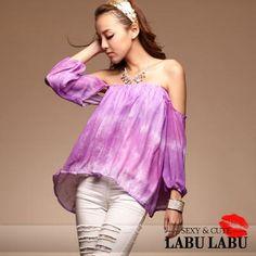 CliPick 的LABU LABU 的名媛話題‧漸層渲染露肩上衣(話題紫)