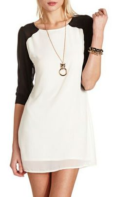 Cutout Color Block Shift Dress