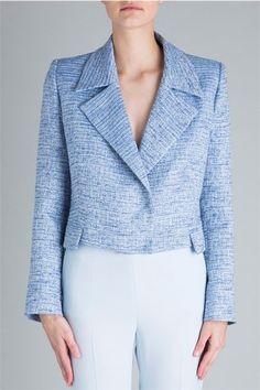 Carla Zampatti Pale Blue Tweed Blue Empress Jacket