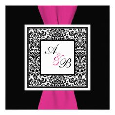 Elegant wedding invitation featuring PRINTED RIBBON Black, White, Pink Damask