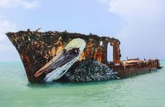 This captivating Pelican is a street art installation made from trash and found objects. The artwork by street artist Bordalo II is located in the Carribean sea near the coasts of Aruba. Trash Art, Colossal Art, Animal Sculptures, Sculpture Art, Land Art, Art Festival, Street Artists, Art Fair, Urban Art