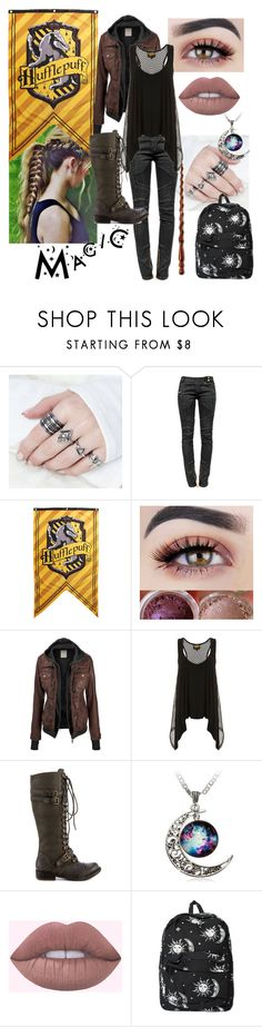 """Hufflepuff Alumni"" by crossxover ❤ liked on Polyvore featuring Balmain, Hot Topic, ZIGIgirl, Motel, harrypotter, hp and Hufflepuff"