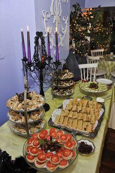 The halloween theme tea party spread