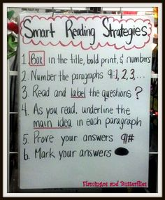 Smart Reading Strategies for test taking. This can be used in elementary schools to help students pick out important parts in a passage. Just need a poster to write strategies on and then hang up for students to learn and review.
