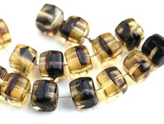 15pc Large Cube beads, Amber Yellow and Black, czech glass pressed cubes - 9mm - 2639 by MayaHoney on Etsy