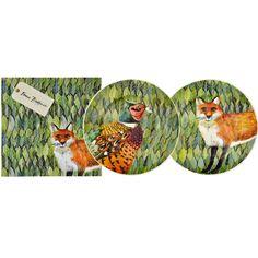 "Set of Two Fox & Pheasant 8 1/2"" Plates Boxed"