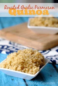 Roasted Garlic Parmesan Simple Quinoa Recipe ~ the easiest and most delicious quinoa recipe I've ever made.  Vegetarian. Healthy Eating. Heart healthy vegetable http://serendipityandspice.com