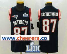 c9e867b26 Men s New England Patriots  87 Rob Gronkowski Navy Blue Color Rush 2019  Super Bowl LIII Patch Vest Stitched NFL Nike Tank Top Jersey
