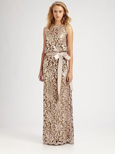 Tadashi Shoji - Sequined Lace Gown - Saks.com