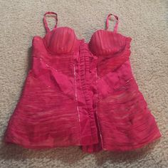 Corset Top Beautiful bright pink silk corset top!  Never worn!  Beaded in a few areas--all beads still in tact.  Lined and supported bra. Marciano Tops Crop Tops