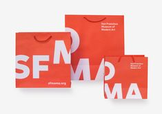 """Designers finally break free of the """"brick,"""" the identity design that paid no heed to smart phones, street-pole banners, or animated video. Identity Design, Visual Identity, Brand Identity, Logo Design, Graphic Design, Moma, Plastic Bag Design, Pole Banners, San Francisco Museums"""