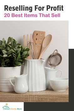 Selling items online is a great side hustle that can lead to extra cash or even a full-time income. Kitchen Utensil Organization, Tool Organization, Wooden Utensil Holder, Utensil Caddy, Make Money From Home, Way To Make Money, Tidy Kitchen, Kitchen Counters, Countertops