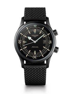 Longines Legend Taucheruhr In Schwarz PVD - Alle Uhren Best Watches For Men, Big Watches, Sport Watches, Luxury Watches, Cool Watches, Black Watches, Dream Watches, Amazing Watches, Casual Watches