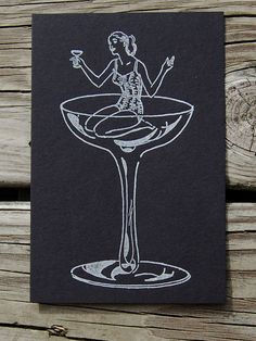 Girl In Vintage Champagne Glass Small Art Print. $2.00, via Etsy.