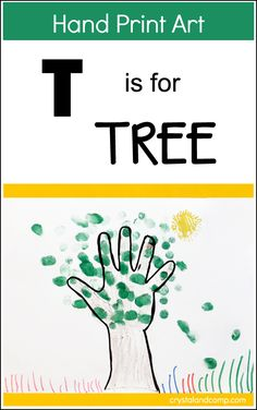 Hand Print Art: T is for Tree