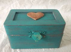 Old Barnwood Themed Wedding Ring Bearer Pillow Box in Teal and Rustic Barn Red Country Wedding on Etsy, $14.95