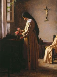 """The Still Point: """"O adorable Jesus, by consecrating to You all that. Catholic Art, Catholic Saints, Roman Catholic, Sainte Therese De Lisieux, Ste Therese, Religious Images, Religious Art, Tableaux Vivants, Bride Of Christ"""