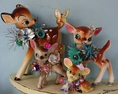 why not add even more kitschy coo to your retro home by adding a little tinsel sparkle to those deer ornaments or other portraits , and china dolls and animals merry christmas decoration to do
