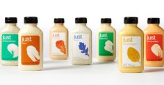 Designed by Hampton Creek Chief Design Officer: Sean Wolcott Project Type: Produced, Commercial Work Packaging Content: Mayo, Dressin. Beverage Packaging, Food Packaging, Bottle Packaging, Packaging Ideas, St Just, Food Branding, Branding Design, Label Design, Package Design