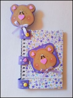 Kids Crafts, Foam Crafts, Crafts To Sell, Diy And Crafts, Diy Notebook, Decorate Notebook, Altered Composition Notebooks, Teddy Bear Crafts, Bookbinding
