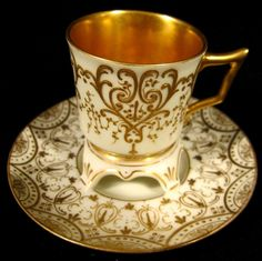 Antique Helena Wolfsohn Dresden Trembleuse Demitasse Cup & Saucer Gold C Tea Cup Set, My Cup Of Tea, Cup And Saucer Set, Tea Cup Saucer, Tea Sets, Vintage Cups, Vintage Tea, Teapots And Cups, Teacups