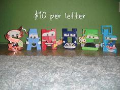 Disney Pixar CARS Themed Letter Art by GunnersNook on Etsy, $10.00