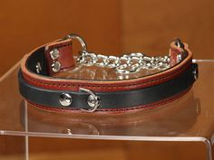 CALIFORNIA COLLAR CO - leather dog collars, leashes & accessories - LOUIS - chain martingale leather dog collar