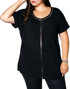 Mblm By Tess Holiday Plus Cutout Lace-Up Short-Sleeve Tunic