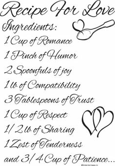 RECIPE FOR SWEET LOVE!! - Kitchen Wall Decals- Recipe for Love Wall Quote- Cute Wall Decals